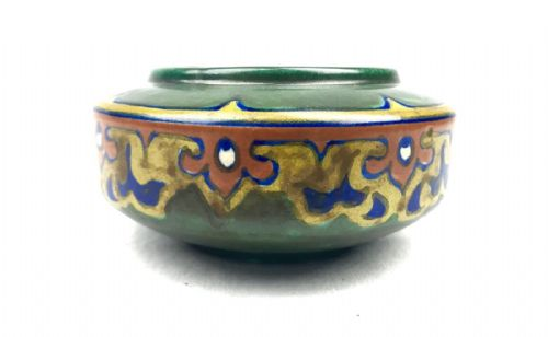 Gouda Pottery Bowl / Vase / Art Deco / Green / Blue / Orange / Yellow / 1923